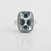 Ring with 10.09cts aquamarine  and diamonds inj white gold - 1