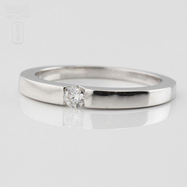 Solitario diamante 0.12cts en oro blanco 18k - 1