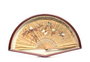 Carved wood fan framed, 20th century