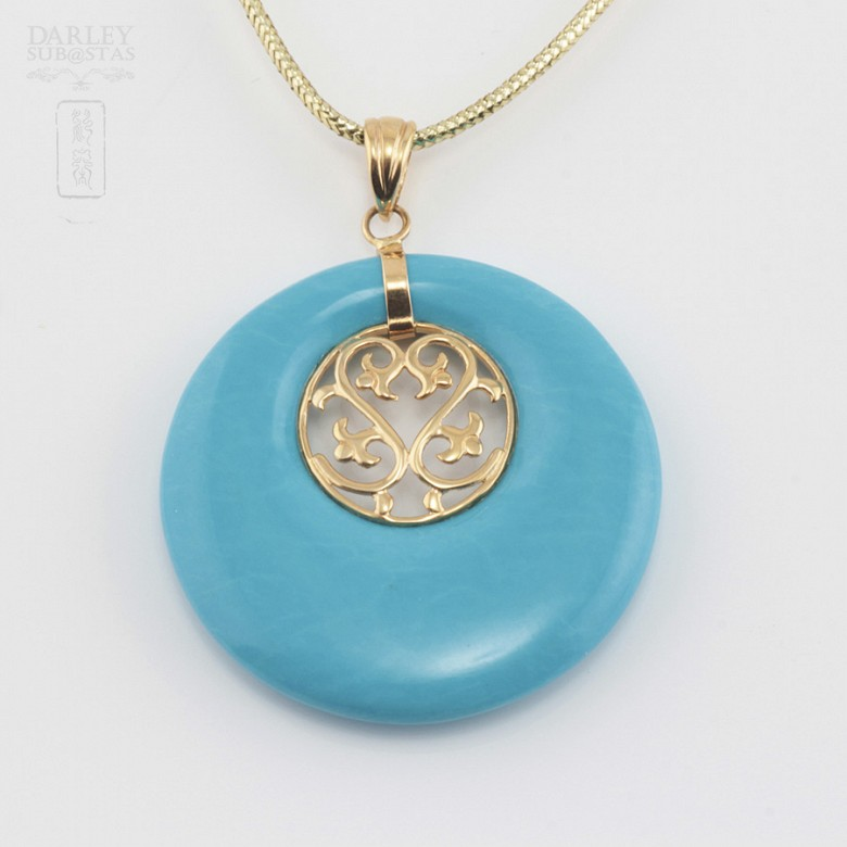 Original pendant in 18k gold and natural turquoise