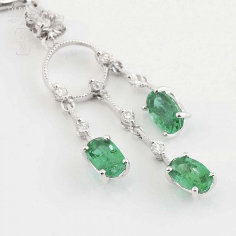 18K白金配1.46克拉祖母绿镶0.52克拉钻石耳环 - 7
