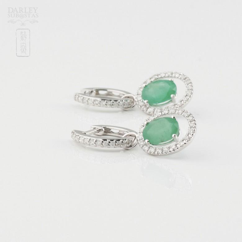 Fantastic diamond and emerald earrings - 2