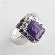 3.30克拉天然紫晶配钻石18K白金戒指