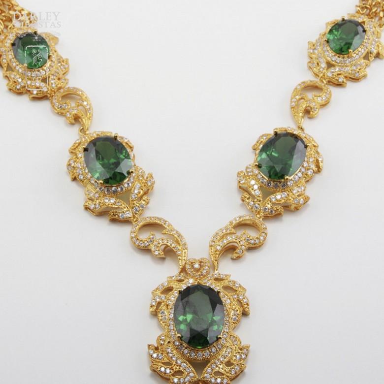 Aderezo de Fallera verde Esmeralda y dorado - 7