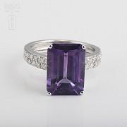 6.93克拉天然紫晶配钻石18K白金戒指 - 1