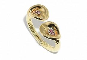 Esclava de oro amarillo de 18k, diamantes y rubíes de 1.00ct.