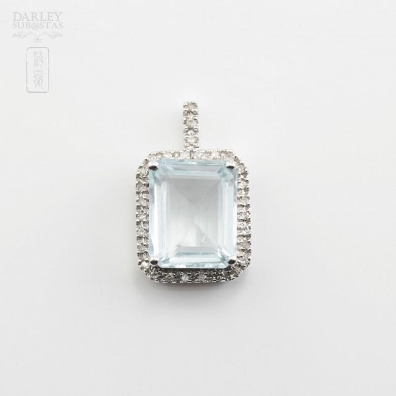 Pendant  Aquamarine2.72cts in white gold and diamonds - 3
