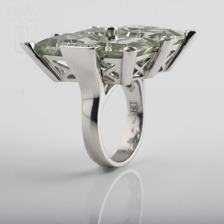 28.17克拉天然绿紫晶配钻石18K白金戒指 - 4