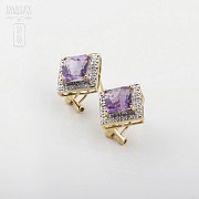 Elegant pair of earrings in 18k yellow gold with amethyst and diamonds - 1