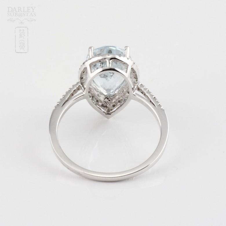 Ring Aquamarine 3.14cts in 18k White Gold - 2