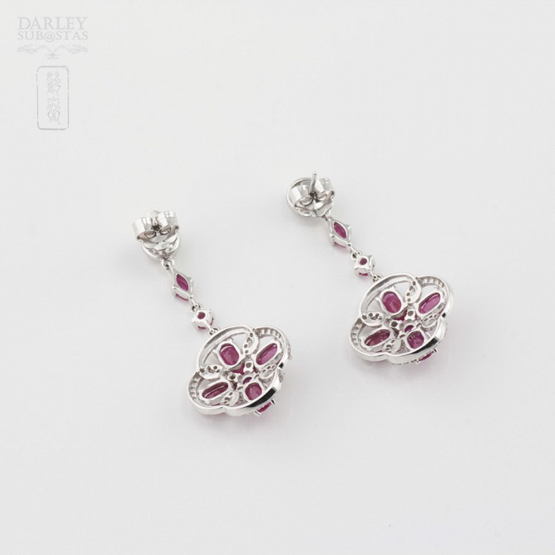 Fantastic earrings with ruby and diamonds - 3