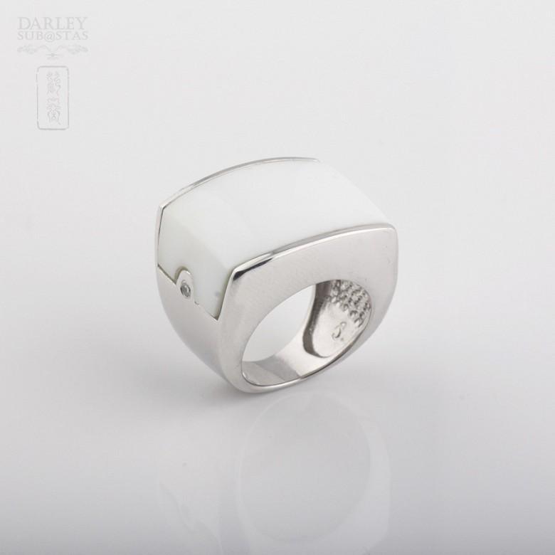 Anillo de porcelana en plata de ley 925m/m