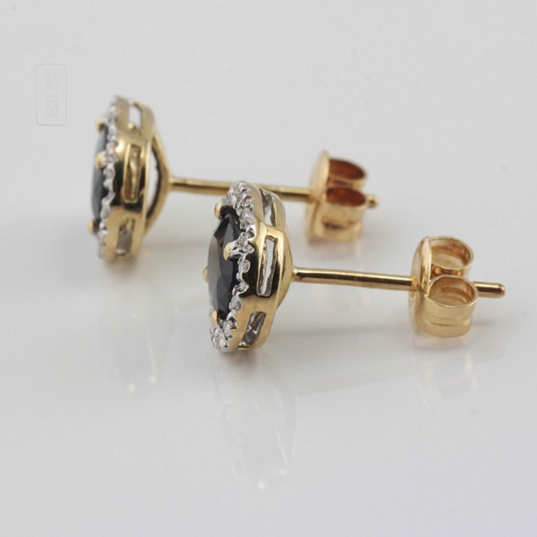 18K黄金镶蓝宝石配钻石耳环 - 3