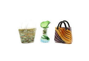 Murano Glass vase and two baskets, 20th century.