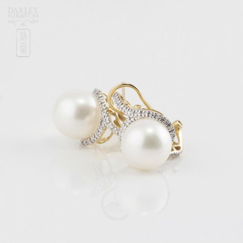 Preciosos pendientes perla y diamantes - 4