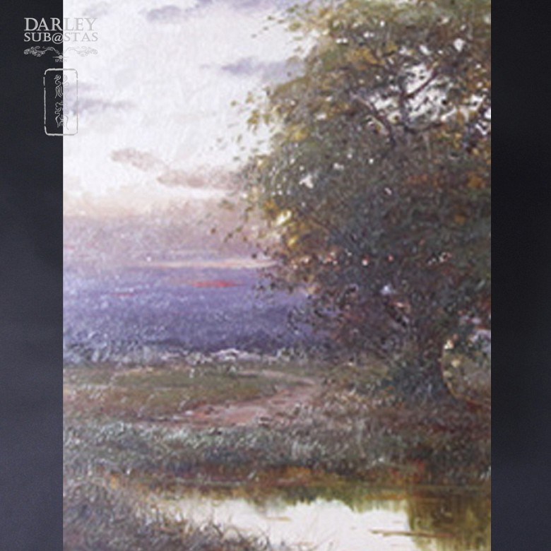 Landscape with River, Oil on wood - 3