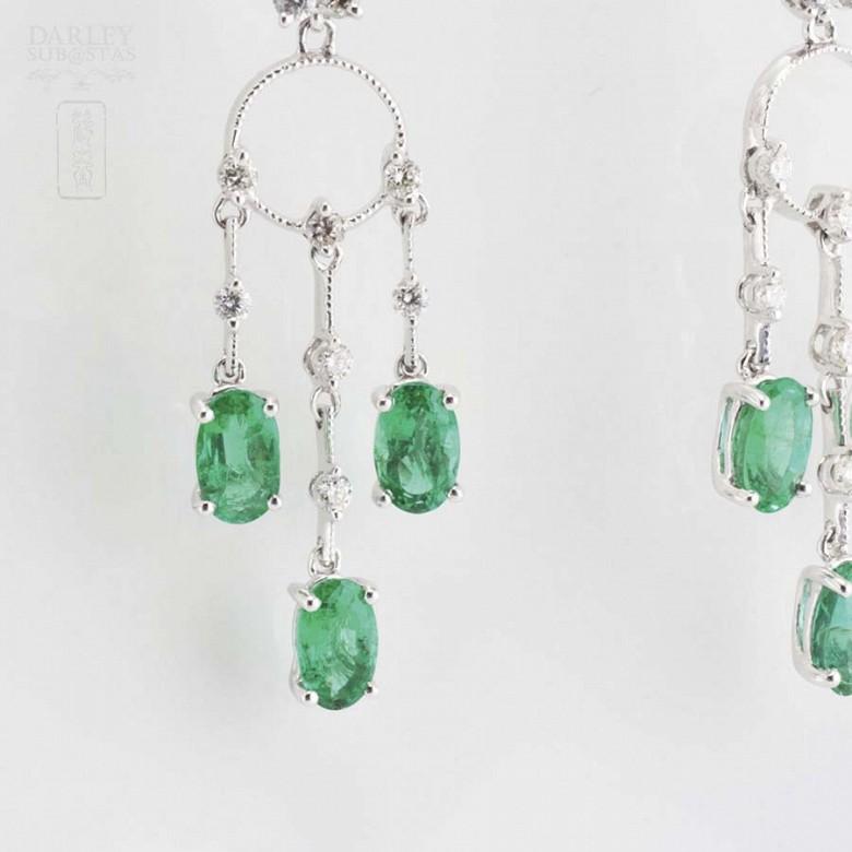 18K白金配1.46克拉祖母绿镶0.52克拉钻石耳环 - 2