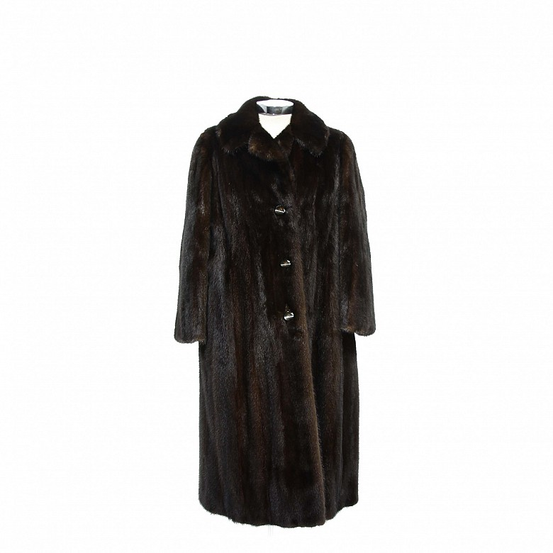 Nice mink fur coat dark brown color and long cut.