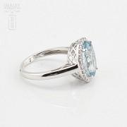 4.28克拉天然海蓝宝石配钻石18K白金戒指 - 2