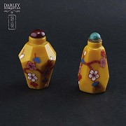 Two glass bottles monkfish Pekín
