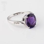 3.08克拉天然紫晶配钻石18K白金戒指 - 3