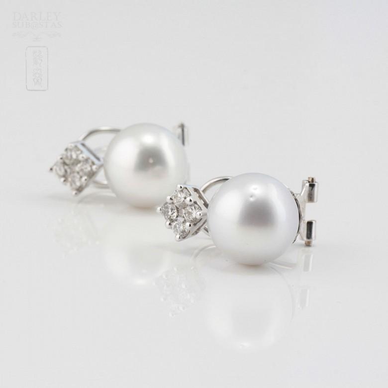 18K白金镶钻石配南洋珠耳环 - 2