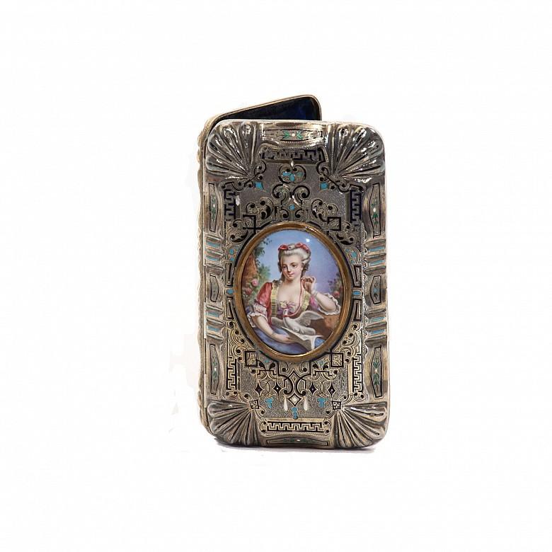 Caja de puros de plata esmaltada, s.XIX