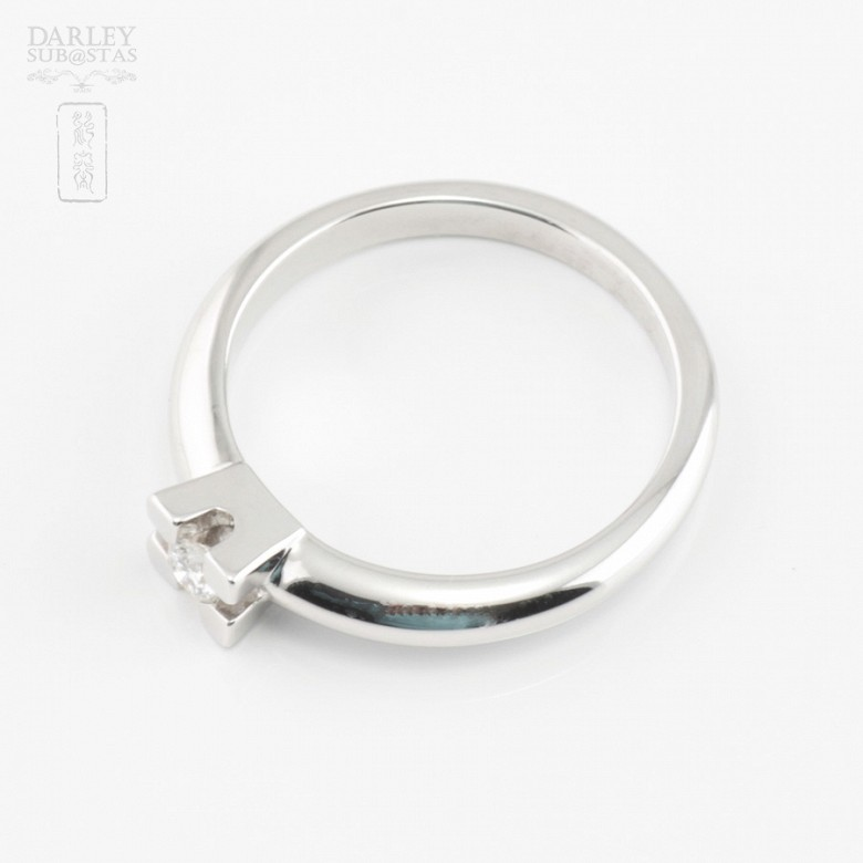 Solitaire in 18k white gold and diamond 0.12cts - 3