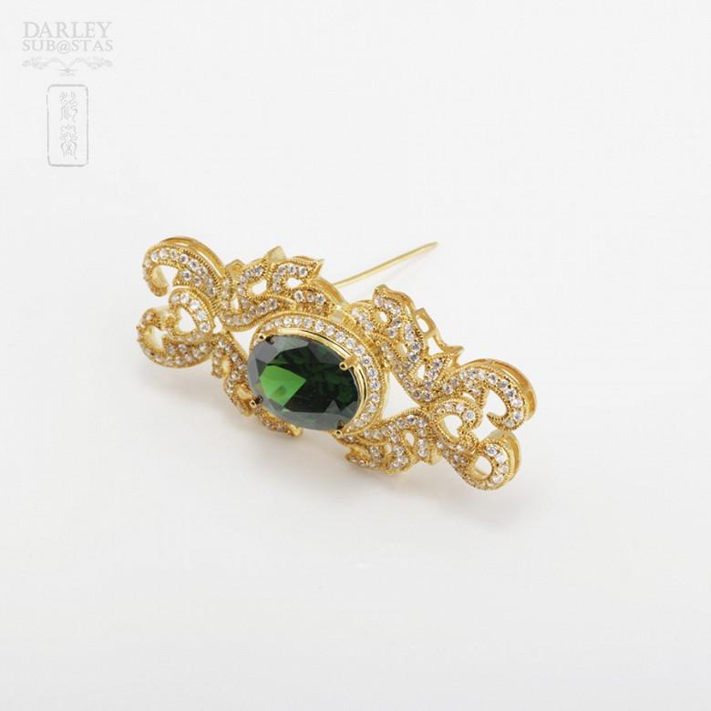 Aderezo de Fallera verde Esmeralda y dorado - 5