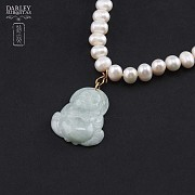 Choker pearl and jade Buddha - 1