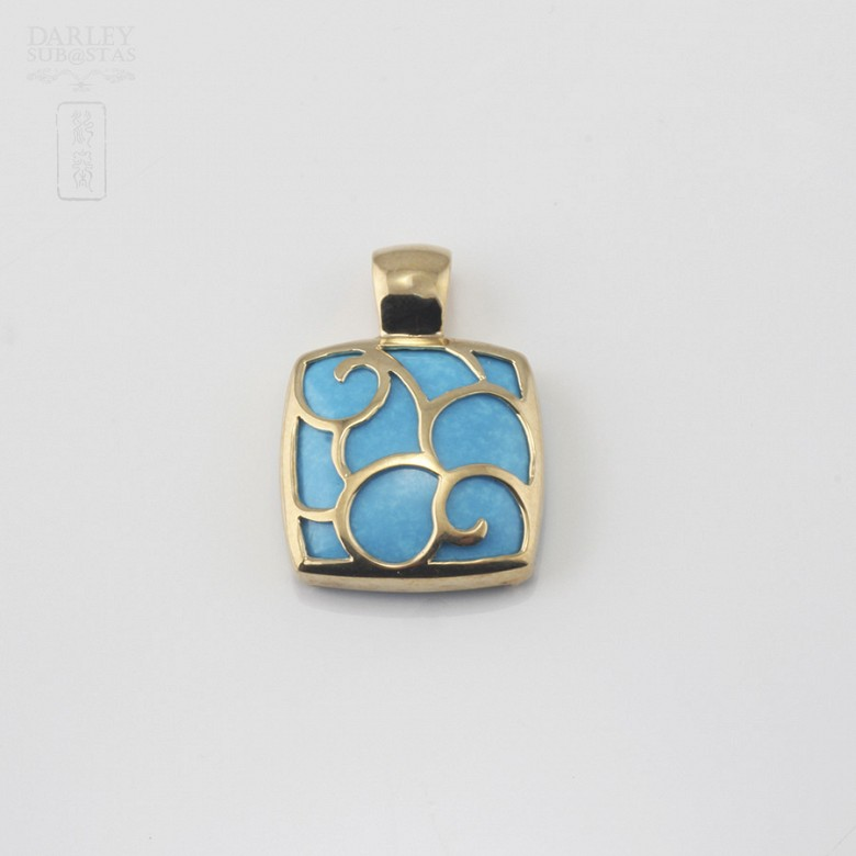 Pendant Yellow Gold and Natural Turquoise - 3