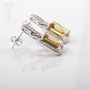 Excelentes pendientes de 18k oro blanco citrino con diamantes - 2