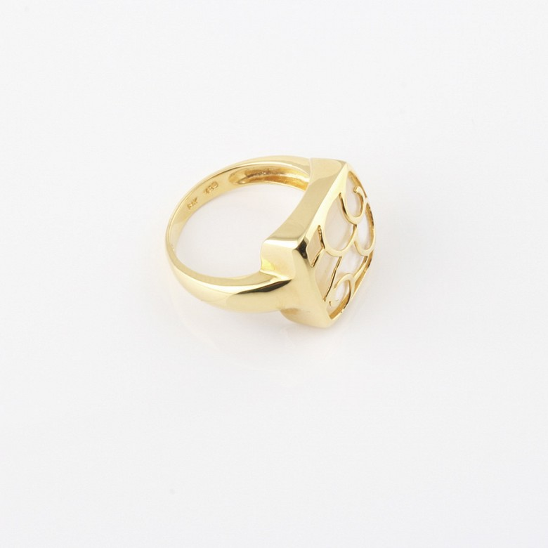 ring with Natural pearl in 18k yellow gold - 1