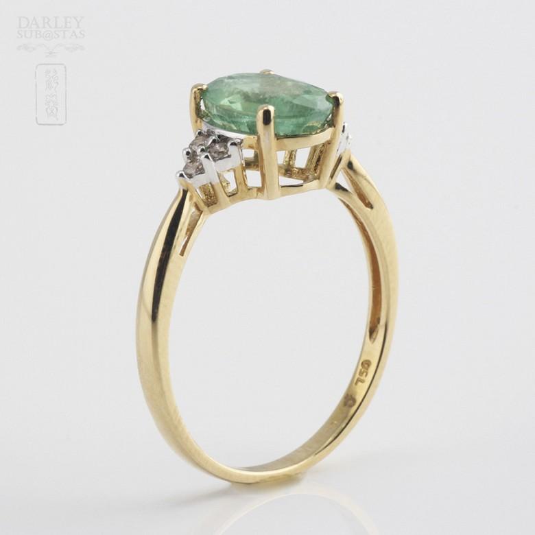 1.78克拉祖母绿配钻石18K黄金戒指 - 3