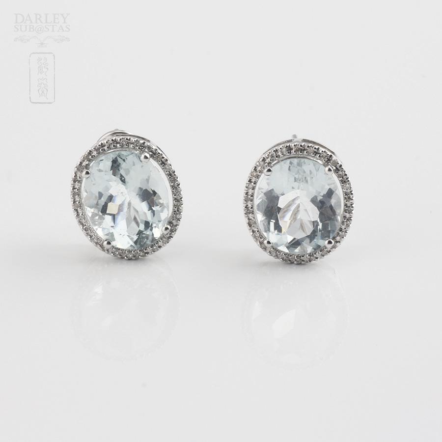 64fbcac05635 Pendientes con Aguamarina 8.44cts y diamantes en oro blanco